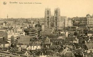 Belgium - Brussels. St. Gudule Church & Panoramic View