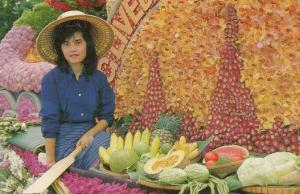 Thailand Fruit Vendor With Cricket Bat Postcard