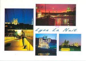 Lyon France La Nuit Night Scenes Rhone Bridge Castles River  Postcard  # 7677