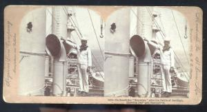REAL PHOTO SANTIAGO CUBA U.S. NAVY SHIP USS BROOKLYN STEREOVIEW CARD