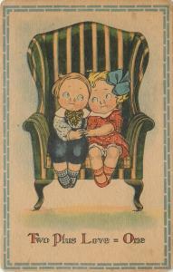Artist~Round Eyed Lil Boy~Girl Cuddle~Striped Chair~Two Plus Love = One~Ser 5012