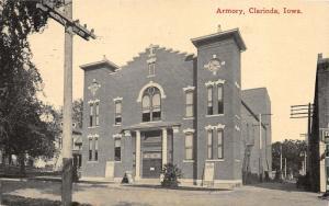 Clarinda Iowa~Armory~Portable Signs by Street~1915 Postcard