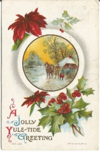 Jolly Yule-tide Greeting Red Poinsettia Horse and Cottage Vintage Postcard