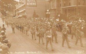 LPS87 Portland Oregon Rose Festival Children's Parade Postcard RPPC Hotel Athens
