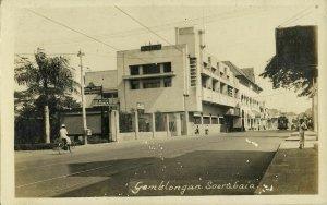 indonesia, JAVA SOERABAIA, Gemblongan, ANIEM Building, Tram (1920s) RPPC