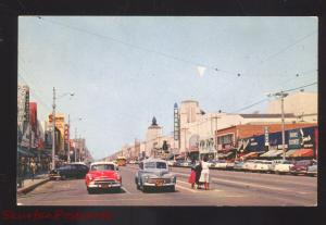 HUNTINGTON PARK CALIFORNIA DOWNTOWN PACIFIC STREET SCENE 1950's CARS POSTCARD