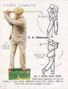 Player Vintage Cigarette Card Golf 1939 No 24 No 1 Iron Full Shot C A Whitcombe