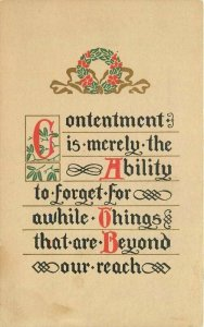 Arts Crafts Contentment Saying Huntwood C-1910 Postcard 6079