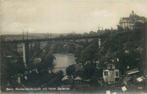 Switzerland Postcard Bern Kirchenfeldbrucke mit Hotel Bellvue