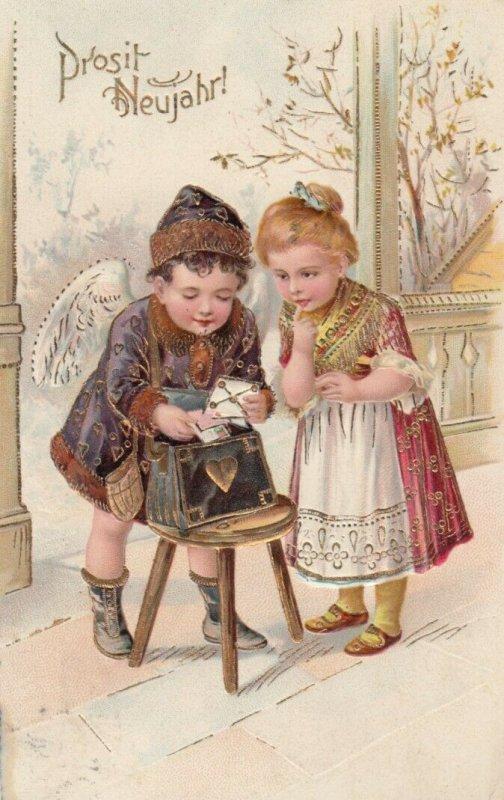 PFB #6220, PU-1930; NEW YEAR, Cherub searching for girls' letter, Gold detail
