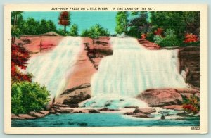 Little River North Carolina~High Falls Waterfall~1940s Linen~Scenic Postcard