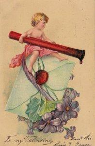 VALENTINE'S DAY, 1900-10s; Cupid sealed envelope, Violets, PFB 3315