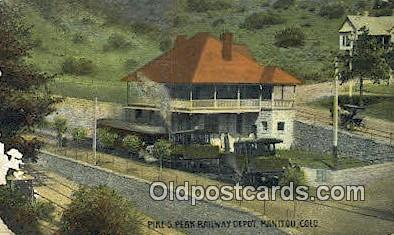 Pike Peak Railway Depot, Manitou, Colorado, CO USA Trains, Railroads Postcard...
