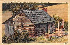 Western North Carolina 1954 Postcard Mountain Home Great Smokey Mountains