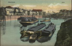 Mannheim Germany Hafen Harbor Boats c1910 Postcard