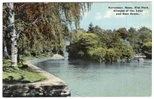 Worcester, Mass, Elm Park, Glimpse of the Lake and Boat House