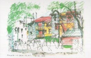 Caminito La Boca Buenos Aires Argentina Sketch Painting Postcard