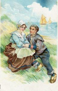Romantic Couple Embossed Vintage Postcard Really pretty 01.57