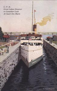 C.P.R. Great Lakes Steamer in Canadian Lock , SAULT STE-MARIE , Ontario , Can...