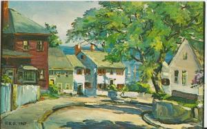 KENNEBUNKPORT Maine - Roger Deering - ARTIST DRAWING 1960s SEAPORT HOMES