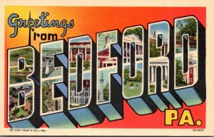Pennsylvania Greetings From Bedford Large Letter Linen Curteich
