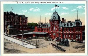 Halifax, Nova Scotia Canada Postcard C.G.R. Station & King Edward Hotel Unused