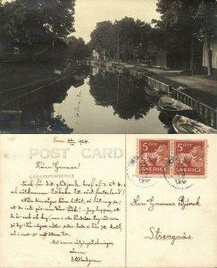 sweden, TROSA, Canal Scene, Rowing Boats (1924) Ateljé Annell RPPC Postcard