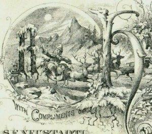 1875 Engraved New Year's Card Moon Night Santa Claus Reindeer Sleigh P219
