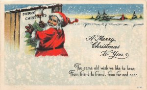 F42/ Santa Claus Merry Christmas Postcard c1910 Painting Sign Snow 8