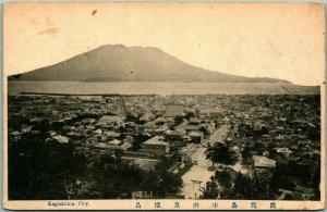 Vintage KOGASHIMA CITY, JAPAN Postcard Bird's-Eye View w/ Sakurajima Volcano