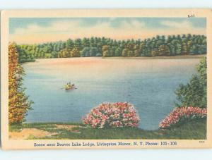 Unused Linen LODGE SCENE Livingston Manor New York NY J7356