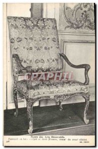 Old Postcard Musee des Arts Decoratifs wooden chair carved and gilded