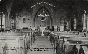 E6/ Roseville Ohio Postcard c1910 Interior St Pauls Evangelical Lutheran Church