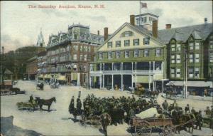 Keene NH Saturday Busy Street Scene Auction c1910 Postcard