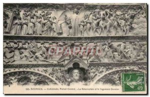 Old Postcard Bourges Cathedral Central Portal of the Last Judgment and Resure...