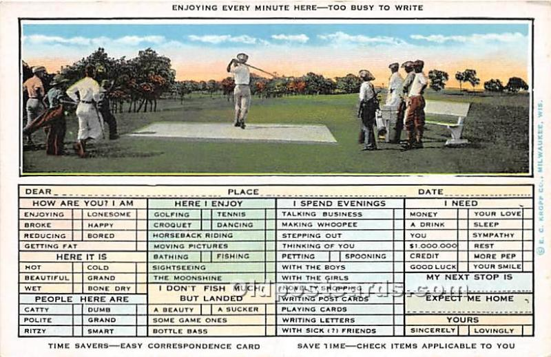 Old Vintage Golf Postcard Post Card Enjoying Every Minute Here, Too Busy to W...