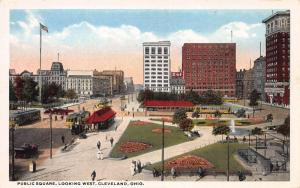 Public Square, Looking West, Cleveland, Ohio, Early Postcard, Unused