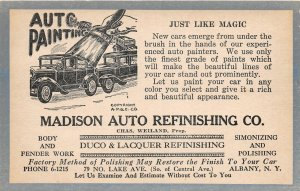 H36/ Albany New York Postcard c1930s Madison Auto Refinishing Garage
