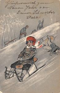 PFB Christmas~Boys on Sleds~White on Gray~Embossed~Artist~Serie #1964~1905 PC