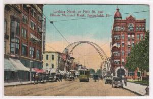 Fifth Street Scene Streetcar Tram Springfield Illinois 1916 postcard