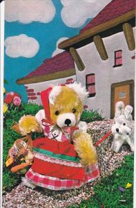 Teddy Bear dressed as maiden with toy dog, 40-60s