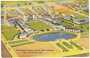 1939 New York World's Fair Federal Building & Hall of Nations Postcard