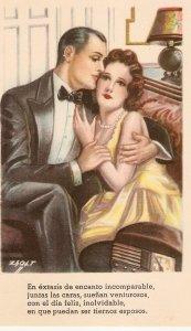 Zsolt. Couple romance.  Together Nice vintage spanish postcard