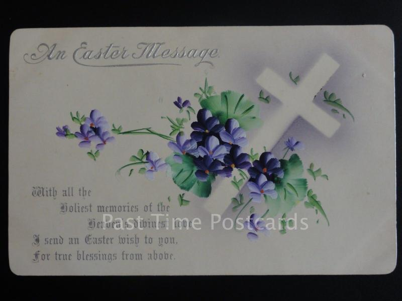 Easter Greeting: An Easter Message... Old Postcard By M & L Ltd G & L