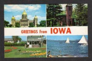 IA Greetings IOWA Postcard Capitol Little Brown Church