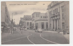P2194 vintage postcard old cars  people signs etc S.main street fall river mass