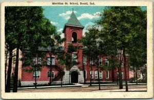 BRAZIL, Indiana Postcard Meridian Street School Building View KROPP 1928 Cance