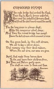 1910s Concord, Massachusetts Postcard CONCORD HYMN Emerson Poem Unused