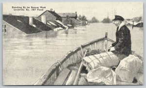 Louisville Kentucky~Standing By for Rescue Work~1937 Flood B&W Postcard