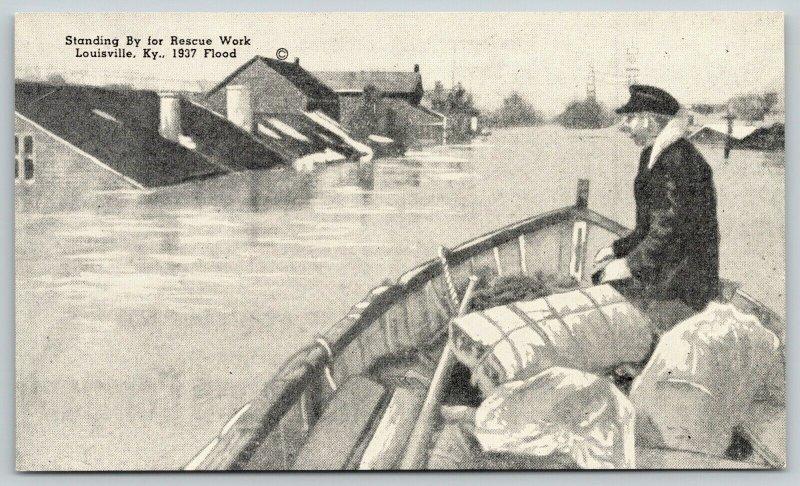 Louisville Kentucky~Standing By for Rescue Work~1937 Flood B&W Postcard